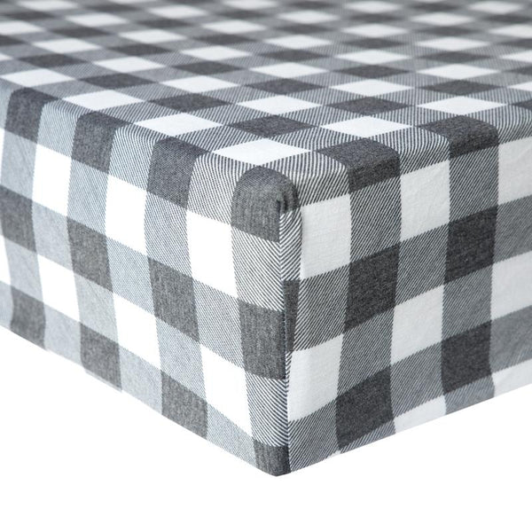 Baby Crib Sheet | Premium Knit | Buffalo Plaid Grey/White - crib sheets - Poshinate Kiddos Baby & Kids Store - on mattress
