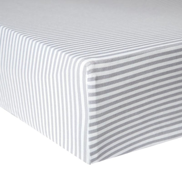 Baby Crib Sheet | Premium Knit | Grey Stripe - Crib Sheets - Poshinate Kiddos Baby & Kids Store - on mattress