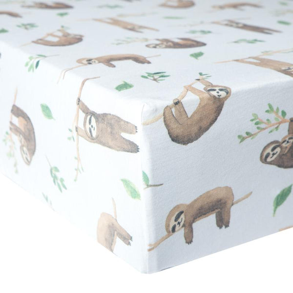 Baby Crib Sheet | Premium Knit | Tan Sloth - Crib Sheets - Poshinate Kiddos Baby & Kids Store - on mattress