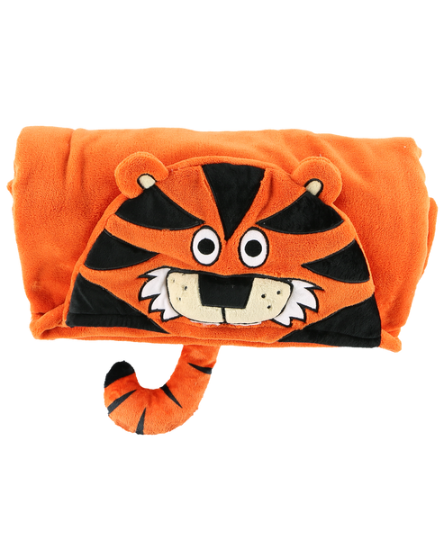 Hooded Kids Fleece Blanket | TIger - Blankets - - Poshinate Kiddos Baby & Kids Store - rolled up