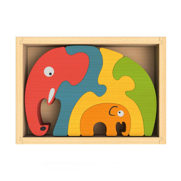 Wooden Elephant Family Puzzle - Puzzles, Games & Toys - Poshinate Kiddos Baby & Kids Store - flat box