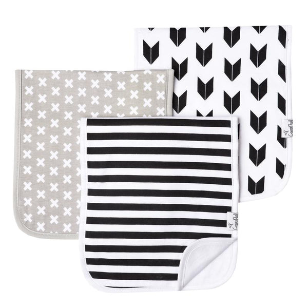 Baby Burp Cloth | Black & White Multi-Print 3-Pack