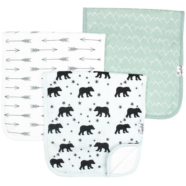 Baby Burp Cloth | Black Bear / Arrows 3-Pack
