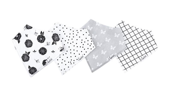 Baby Bibs | Bandana | Black Dot / Neutral Print 4-Pack - Baby Bibs - Poshinate Kiddos Baby & Kids Boutique - 4 set variety layout