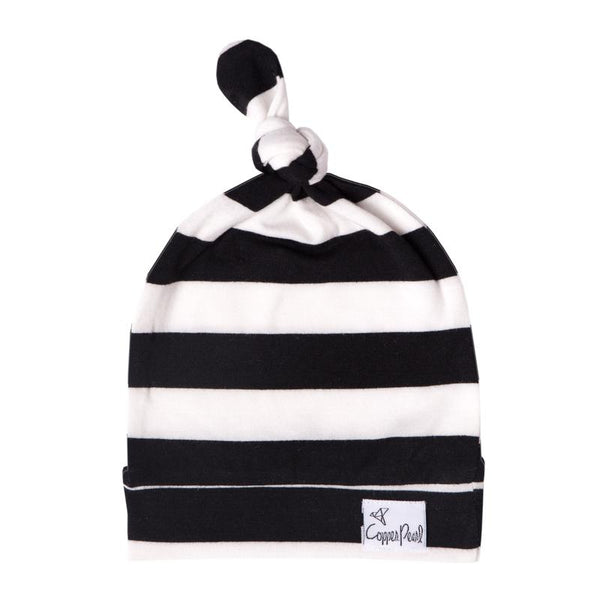 Baby Hat | Top Knot Hat | Black/White Stripe - baby hats - Poshinate Kiddos Baby & Kids Boutique - knot hat main image