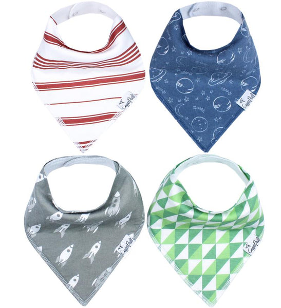 Baby Bibs | Bandana | Blue Planets / Grey Rockets 4-Pack - Baby Bibs - Poshinate Kiddos Baby & Kids Gifts - 4 awesome bibs variety