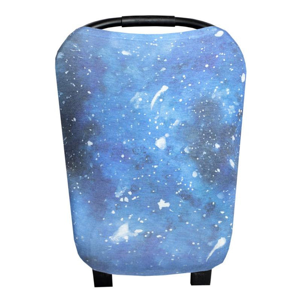 Multi Use 5 in 1 Baby Cover | Blue Galaxy -Accessories -Poshinate Kiddos Baby & Kids Boutique -main carseat pic