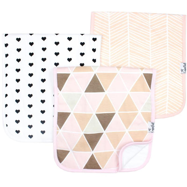 Baby Burp Cloth | Blush Geometric 3-Pack