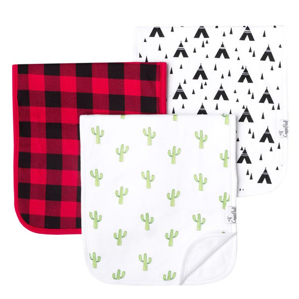 Baby Burp Cloth | Desert / Black & Red Buffalo Plaid 3-Pack