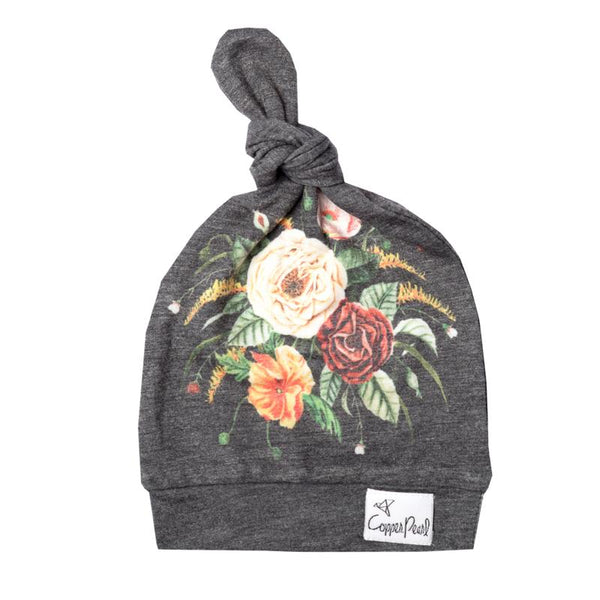 Baby Top Knot Hat | Charcoal Flower