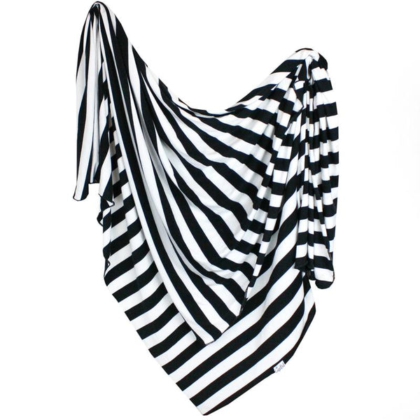 Baby Blanket | Knit Swaddle | Black/White Stripe