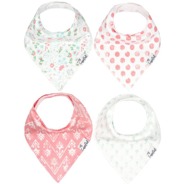 Baby Bibs | Bandana | Coral Dot / Mint Tulips 4-Pack - Baby Bibs - Poshinate Kiddos Baby & Kids Gifts - variety set of 4 bibs
