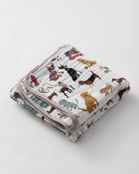 Baby Blanket | Cotton Muslin Quilt | Woof - Blankets - Poshinate Kiddos Baby & Kids Boutique - main image of Woof quilt folded up