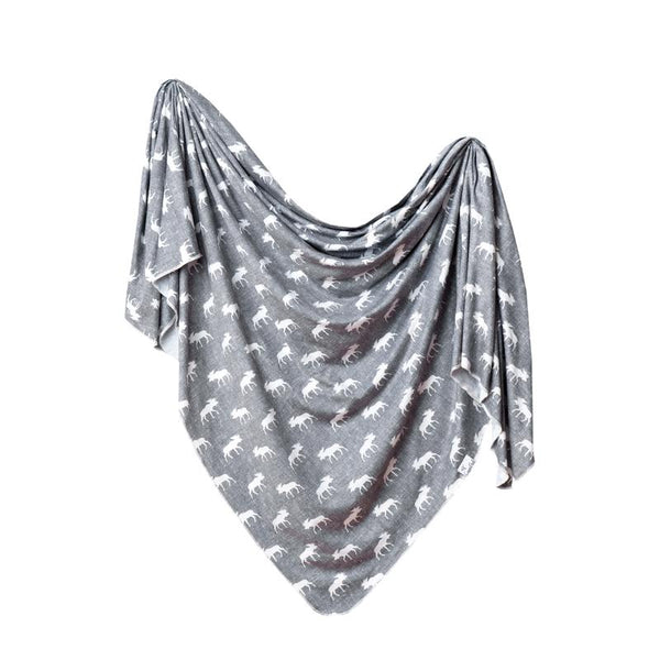 Baby Blanket | Knit Swaddle | Grey/White Moose