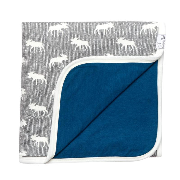 Kids Blanket | 3-Layer Knit | Grey/White Moose - blankets - Poshinate Kiddos Baby & Kids Boutique - GreyWhite Moose & Navy main image