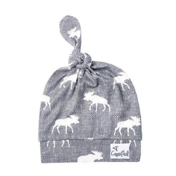 Baby Hat | Top Knot Hat | Grey/White Moose - baby hats - Poshinate Kiddos Baby & Kids Store - knot hat main image