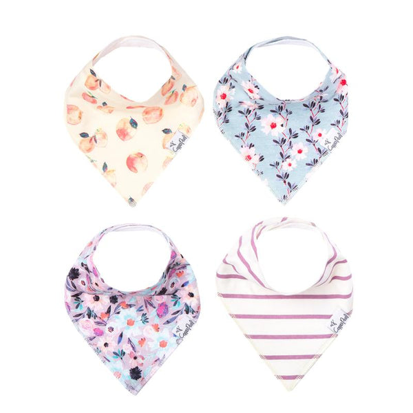 Baby Bibs | Bandana | Multi-Floral / Pink Stripe 4-Pack - Baby Bibs - Poshinate Kiddos Baby & Kids Boutique - variety set of 4 bibs