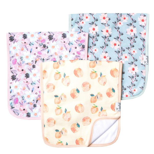 Baby Burp Cloth | Multi-Floral / Peaches | 3-Pack - Baby Burp Cloths - Poshinate Kiddos Baby & Kids Products - set of 3 cloths