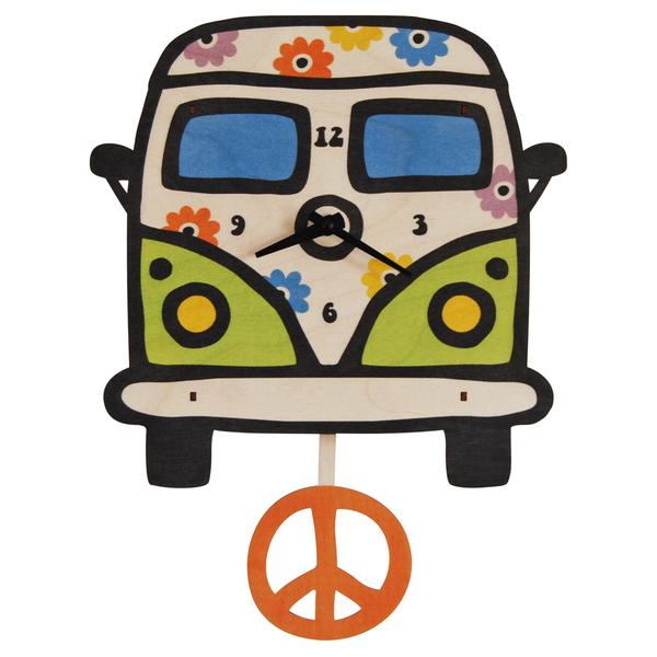 Pendulum Clock | Peace Bus - Pendulum Clocks - Poshinate Kiddos Baby & Kids Boutique - Unique bus clock with Peace sign pendulum