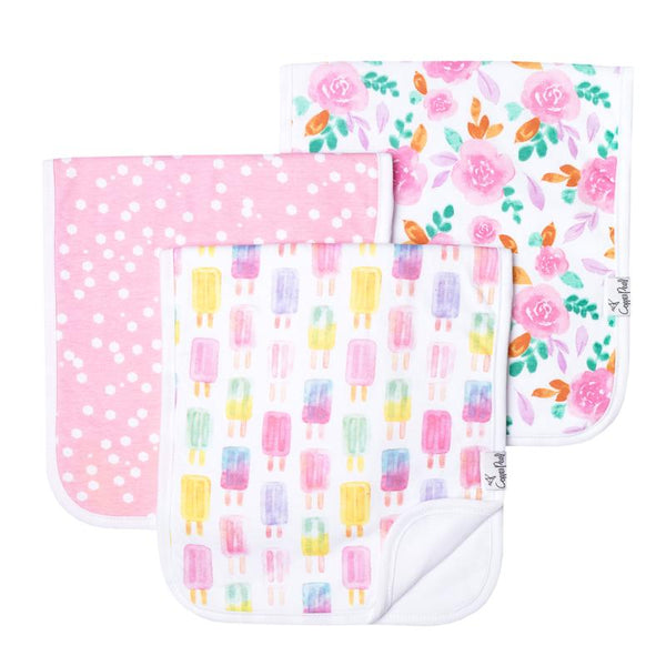 Baby Burp Cloth | Pink Dot / Pastel Popsicles 3-Pack