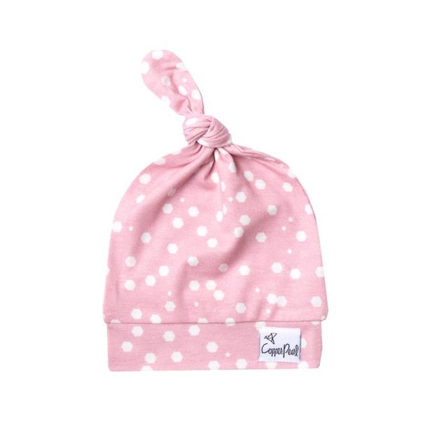 Baby Hat | Top Knot Hat | Pink Dot - baby hats - Poshinate Kiddos Baby & Kids Boutique - knot hat main image