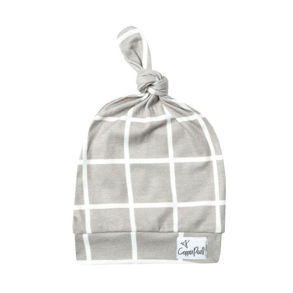 Baby Top Knot Hat | Sand Grid