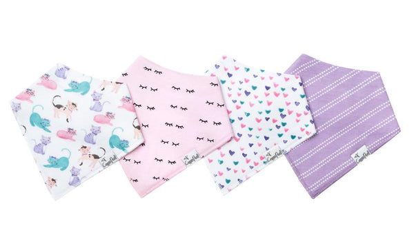 Baby Bibs | Bandana | Sassy Kittens / Pink Purple 4-Pack - Baby Bibs - Poshinate Kiddos Baby & Kids Boutique - layout of four set