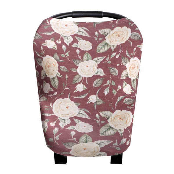 Multi Use 5 in 1 Baby Cover | Burgundy Rose - Accessories - Poshinate Kiddos Baby & Kids Boutique - main carseat pic