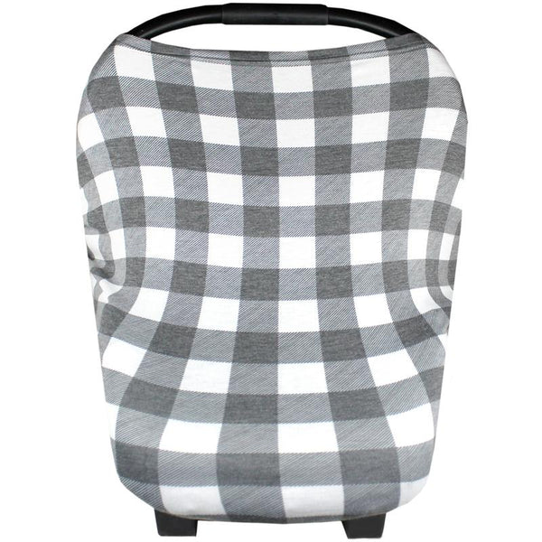 Multi Use 5 in 1 Baby Cover | Grey/White Buffalo Plaid -Accessories -Poshinate Kiddos Baby & Kids Boutique -carseat cover