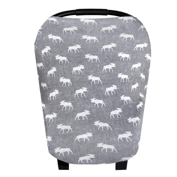 Multi Use 5 in 1 Baby Cover | Grey/White Moose -Accessories -Poshinate Kiddos Baby & Kids Boutique -main carseat cover