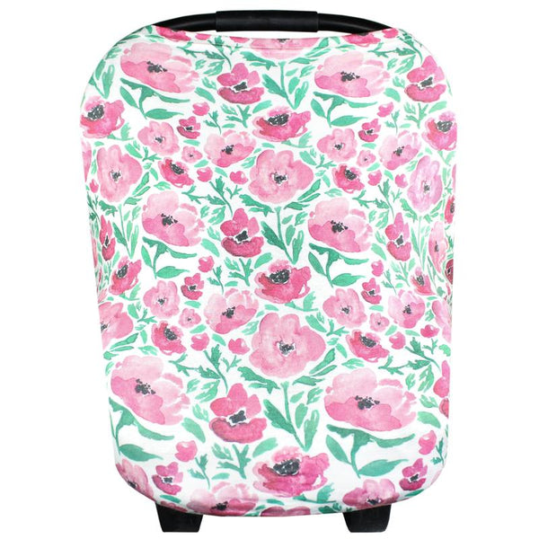Multi Use 5 in 1 Baby Cover | Pink/Green Floral
