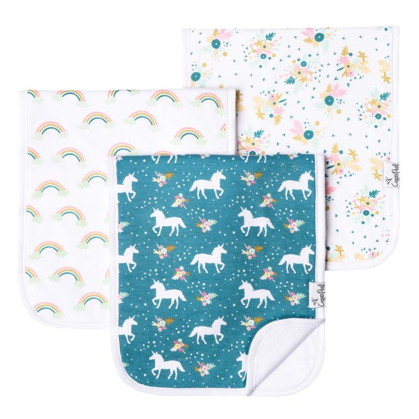Baby Burp Cloth | Teal/White Unicorn & Whimsy 3-Pack