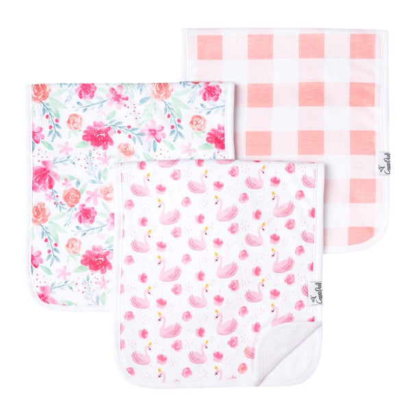 Baby Burp Cloth | Pink Swan / Peonies  3-Pack