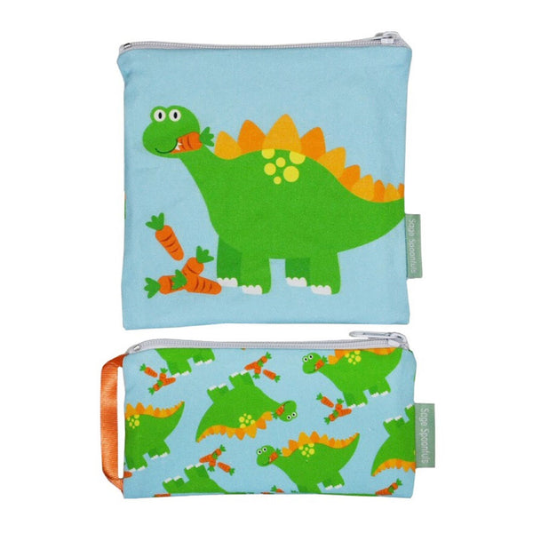 Baby & Kids Fresh Food Prep | Reusable Snack & Sandwich Bags | Dinosaur set