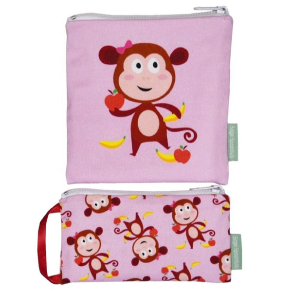 Baby & Kids Fresh Food Prep | Reusable Snack & Sandwich Bags - Monkey set - Food Prep & Accessories - Poshinate Kiddos Baby & Kids Boutique | Monkey set pink main image
