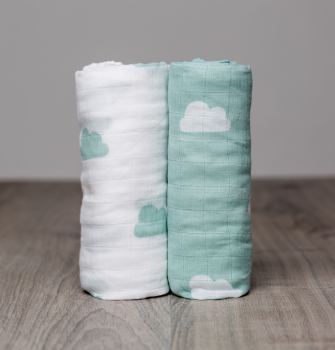 Cotton Muslin Swaddle Set | 2 pc | Aqua Clouds