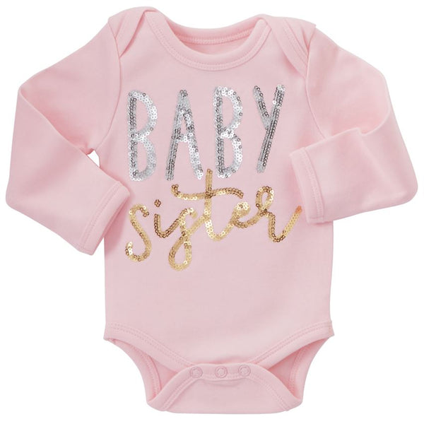 Baby Girl Onesie | Baby Sister | Pink Silver Gold Sequin | Poshinate Kiddos | Baby & Kids Clothing