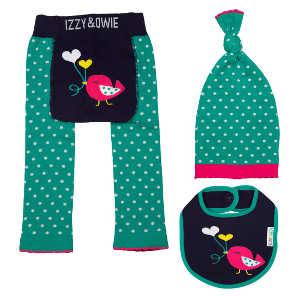 Baby Leggings | 3 Piece Set | Birdie Aqua/Navy - Baby Leggings - 6-12 months / Aqua/Navy Birdie - Poshinate Kiddos