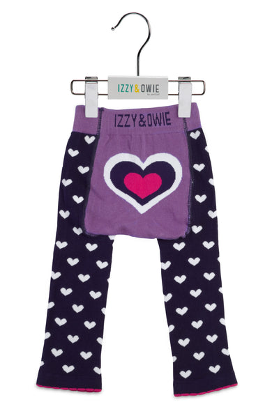 Baby Leggings | Heart Purple/Navy