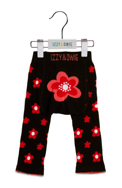 Baby Leggings | Flower Red/Black - Baby Leggings - 6-12 months / Red/Black Flower - Poshinate Kiddos