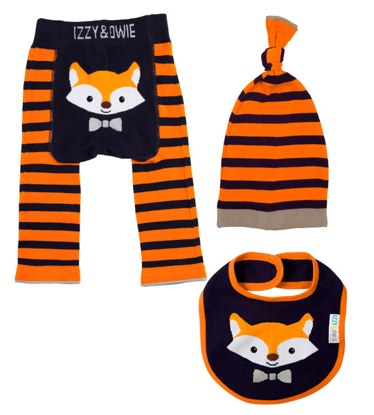 Baby Leggings | 3 Piece Set | Fox Orange/Navy - Baby Leggings - 6-12 months / Orange/Navy Fox - Poshinate Kiddos