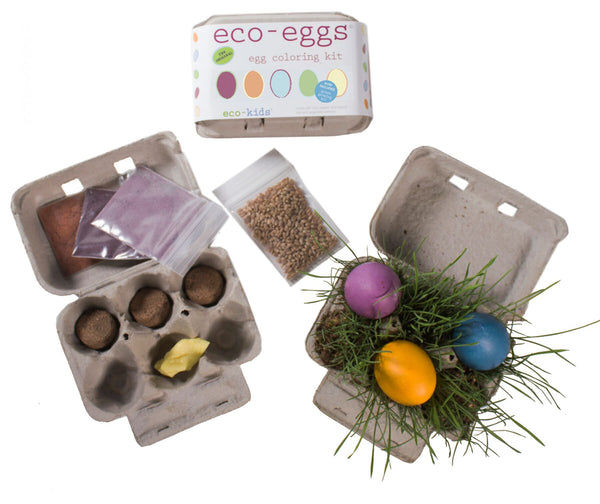 Kids Eco Eggs | Natural Egg Dyes & Grass Growing Kit - Books and Activities - Poshinate Kiddos Baby & Kids Boutique - contents of entire kit with grass