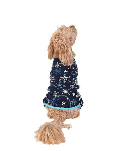 Dog Clothes | Flapjacks Snowflake | Navy Teal | Poshinate Kiddos Baby & Kids Boutique | on Dog