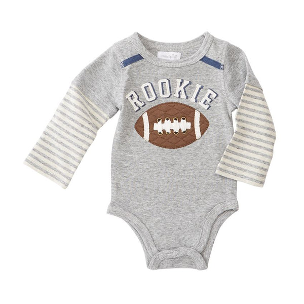 Baby Boy Onesie | Football Rookie | Long Sleeve Grey-Baby Onesies-Poshinate Kiddos Baby & Kids Store