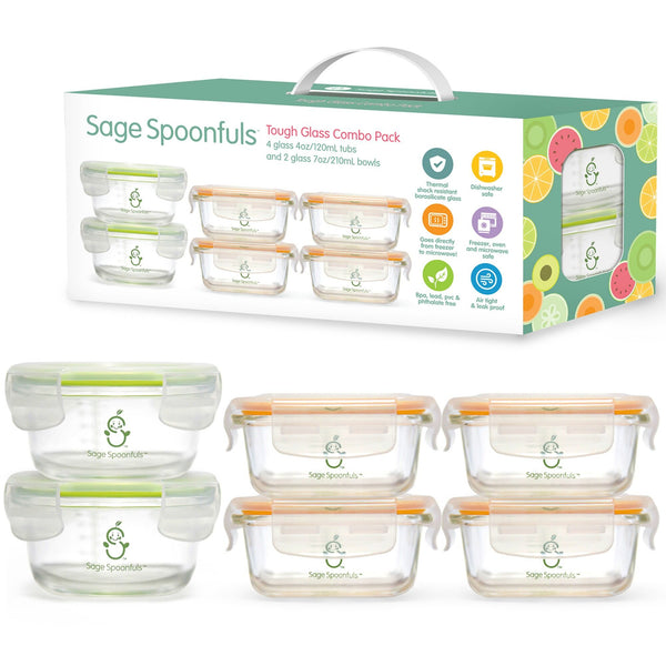 Baby & Kids Fresh Food Prep | Glass Food Storage Jars - Food Prep & Accessories - Poshinate Kiddos Baby & Kids Boutique | showing box and 6 containers with lids