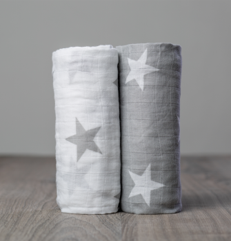 Cotton Muslin Swaddle Set | 2 pc | Grey Stars - Swaddle Blankets - Poshinate Kiddos Baby & Kids Store
