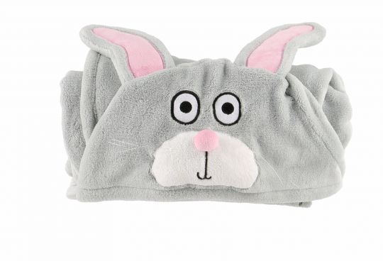 Hooded Kids Fleece Blanket | Bunny | Blankets | Poshinate Kiddos Baby & Kids | Rolled Up
