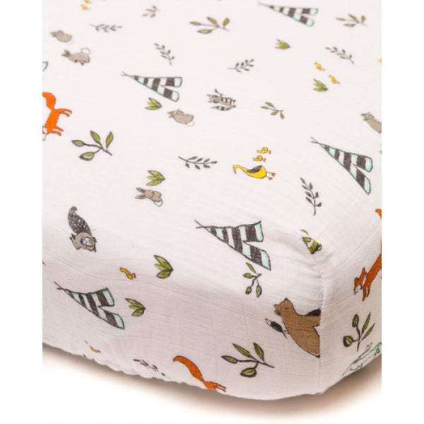 Cotton Muslin Fitted Crib Sheet | Forest Friends
