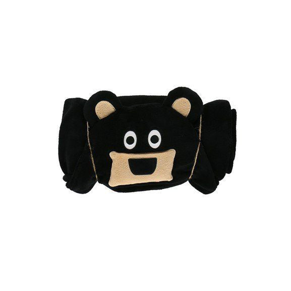 Hooded Kids Fleece Blanket | Bear - Blankets - - Poshinate Kiddos Baby & Kids Store - rolled up