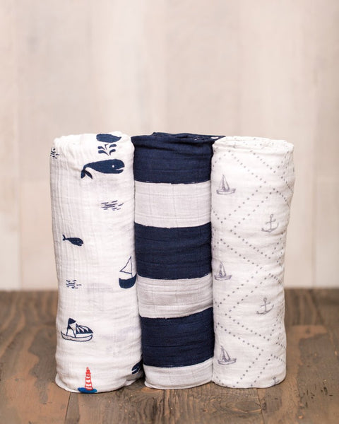Cotton Muslin Swaddle Set | 3 pc | Navy Stripe